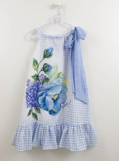 Vestido Seda Xadrez Lilás Flores Petit Cherie