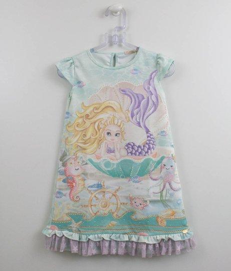 Vestido Sereia Lilás Malha Estampada Petit Cherie