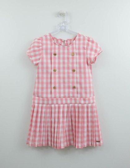 Vestido Xadrez Vichy Rosa Um mais Um Infantil