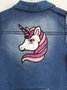 Colete Jeans Momi Mini Unicornio Bordado Costas