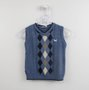 Colete Tricot Losangos Azul Um mais Um Bebê