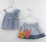 Conjunto 1+1 Baby Style Bata + Saia Listras Azul