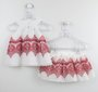 Conjunto 1+1 Baby Style Bata + Saia Short Estampa Vermelha