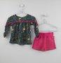 Conjunto Bata Girafas e Short Pink Nanai Baby
