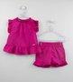 Conjunto Bebê Pink Bata e Short Um mais Um
