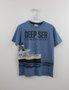 Conjunto Bermuda Moletom e Camiseta Navio Azul Milon