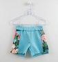 Conjunto Infantil 1+1 Bata Flores + Short Azul Turqueza