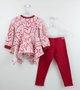 Conjunto Menina 1+1 Blusa Corações e Legging Vermelha