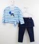 Conjunto Menina 1+1 Blusa Listras + Legging Azul