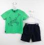 Conjunto Menino 1+1 Baby Camiseta Triciclo + Bermuda Moletom
