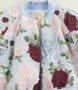 Jaqueta Bomber Estofada Petit Cherie Azul Estampa Rosas