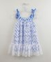Vestido Azul Zig Zag com Renda Branca 1+1
