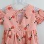 Vestido Bebê Um mais Um  Estampado Rosas Coral